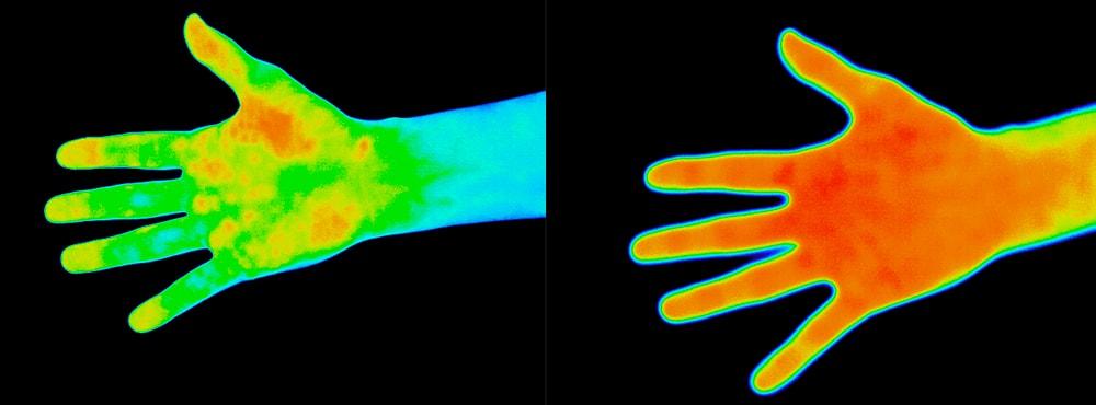 41℃のお風呂前後のサーモグラフィ