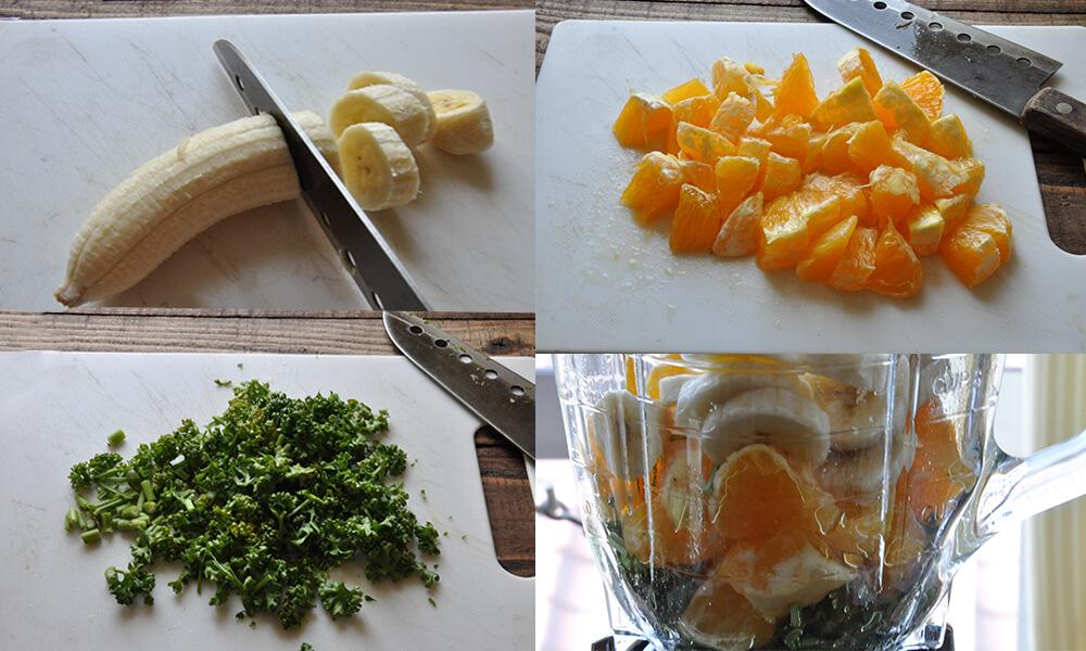 果物を切り、ミキサーにかける